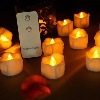Opakowanie 6 lub 12 zdalnych ciepłych białych migających plastikowych fałszywych świec bursztynowych świec ślubnych bezpłomieniowych świec na Halloween świeczek urodzinowych tanie i dobre opinie zabicat Świeczka led Filar Wakacje Walentynki Ogólne świeca Ponownego oświetlania świeca plastic LED0059 Yellow flicker warm white flicker