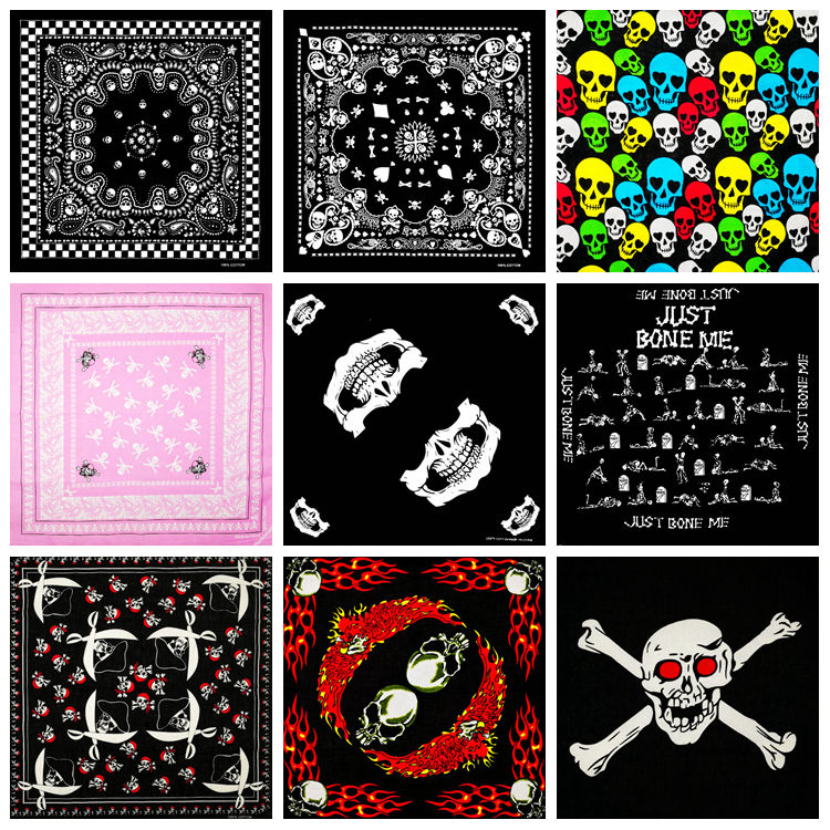Fashion Hip Hop 100% Cotton Skull Bandana Square Scarf Kerchief Black Paisley Bicycle Headband Printed For Women/Men/Boys/Girls