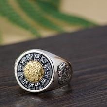 100% ريال 925 فضة التايلاندية الفضة استدارة خواتم للرجال هدية ثلاثية خاتم خمر مجوهرات رجالية Anillos A1641