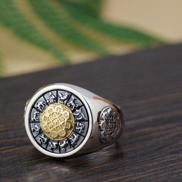 100% prawdziwe 925 Sterling Silver Thai srebrny obrócone pierścienie na prezent dla mężczyzny trigram pierścień Vintage Fashion biżuteria męska Anillos A1641