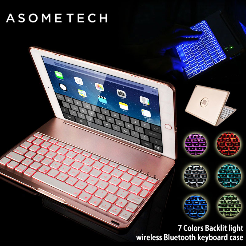 7 Colors For IPAD MINI 1 2 3 4 Full Protective Cover Backlit Light Wireless Bluetooth Keyboard Case For iPad MINI Stand Fundas