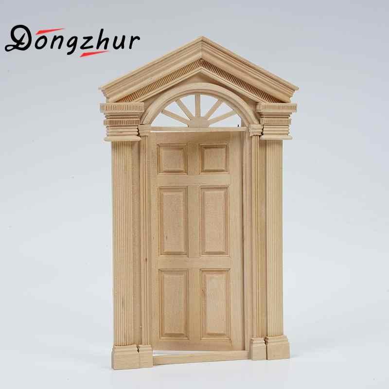 Dongzhur Wooden 1:12 Dollhouse Door Miniaturas Casa De Munecas 1:12 Accessories Wooden Door Doll House Miniature 1:12 Toy Door
