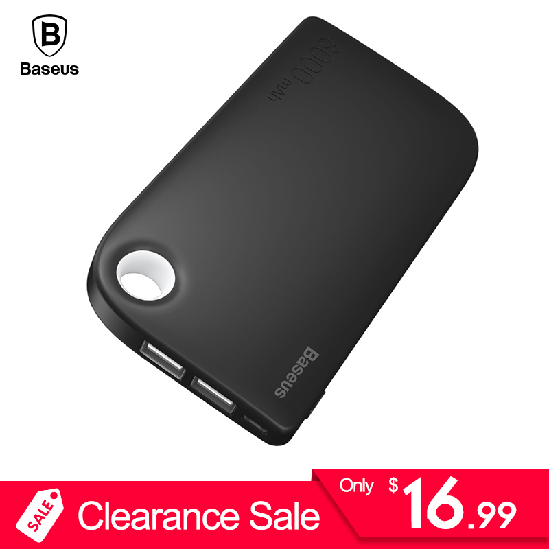 Clearance Baseus Dual USB Power Bank 8000mAh Poverbank Portable External Battery Charger For Samsung iPhone Xiaomi Powerbank