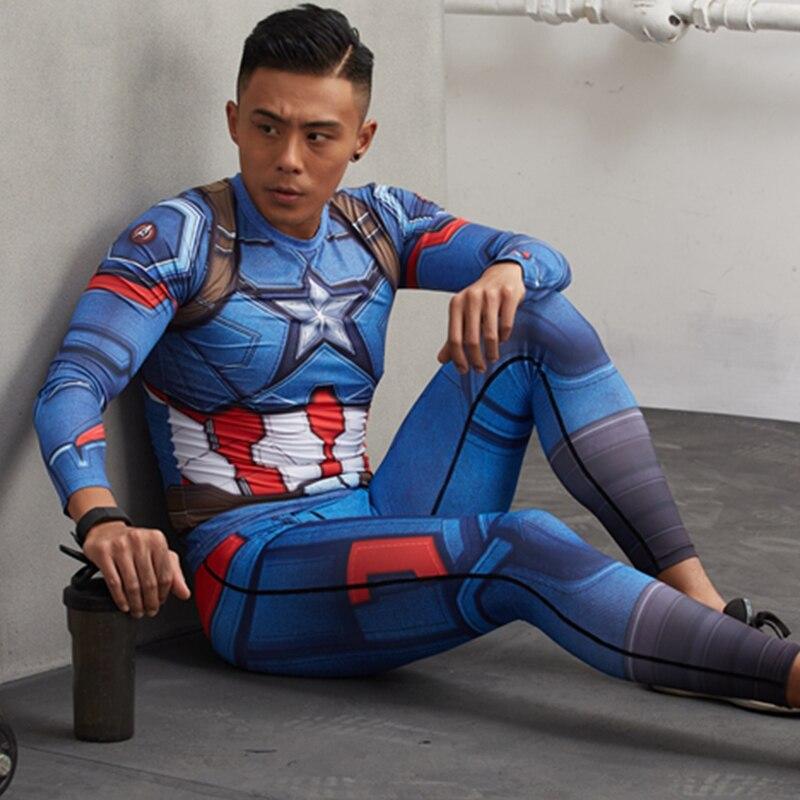 American Captain Clothing 3D Print Compression Pants Men Skinny Bodybuilding Fitness Jogger Legging Rashguard Crossfit Trouser