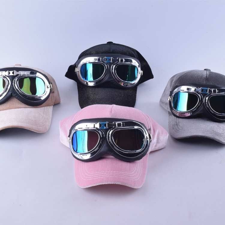 Fancy cotton 6 panels ski goggles baseball cap with polite glasses sports caps decoration novelty halley hat for men and women the new children s cubs hat qiu dong with cartoon animals knitting wool cap and pile