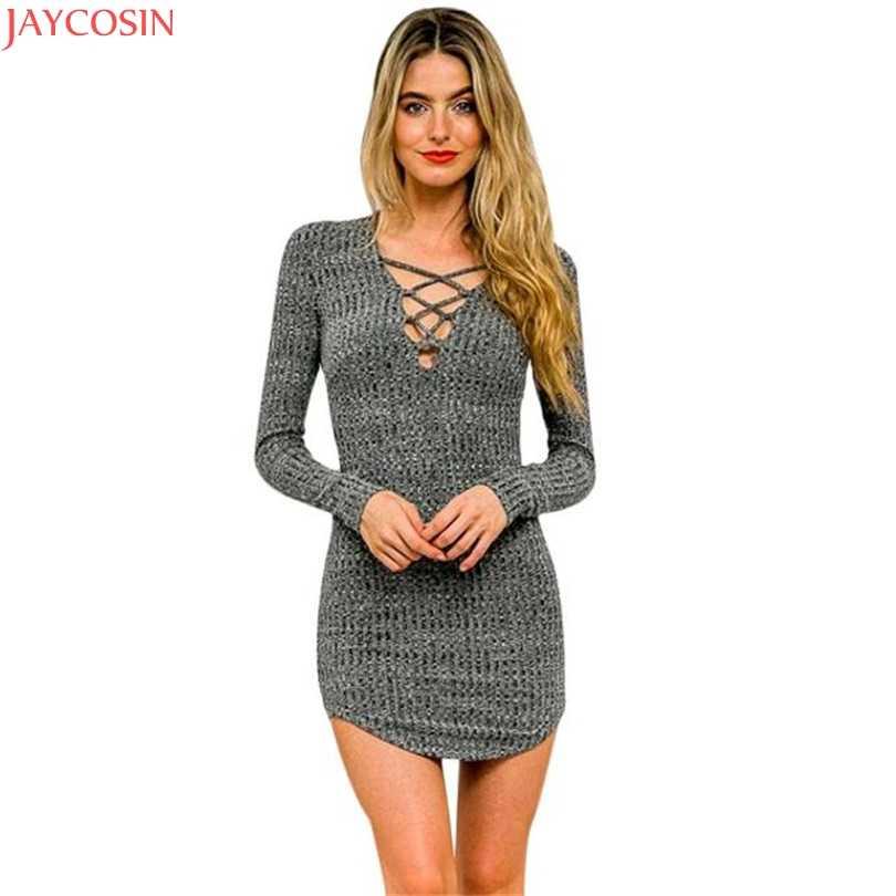 2019 ฤดูร้อนเซ็กซี่ผู้หญิง Lace Up แขนยาวความยืดหยุ่นผ้าฝ้ายชุด Bodycon Mini Dress vestidos