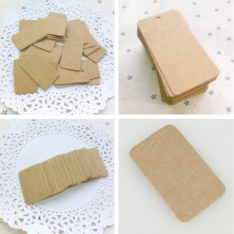 100Pcs Retro Blank Kraft Paper Ear Studs Card Hang Tag Jewelry Display Earring Cards Cardboard Accessories