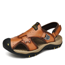 Big Size 100% Genuine Leather  Men Soft Sandals Summer Shoes Beach sandals size 46 outdoor