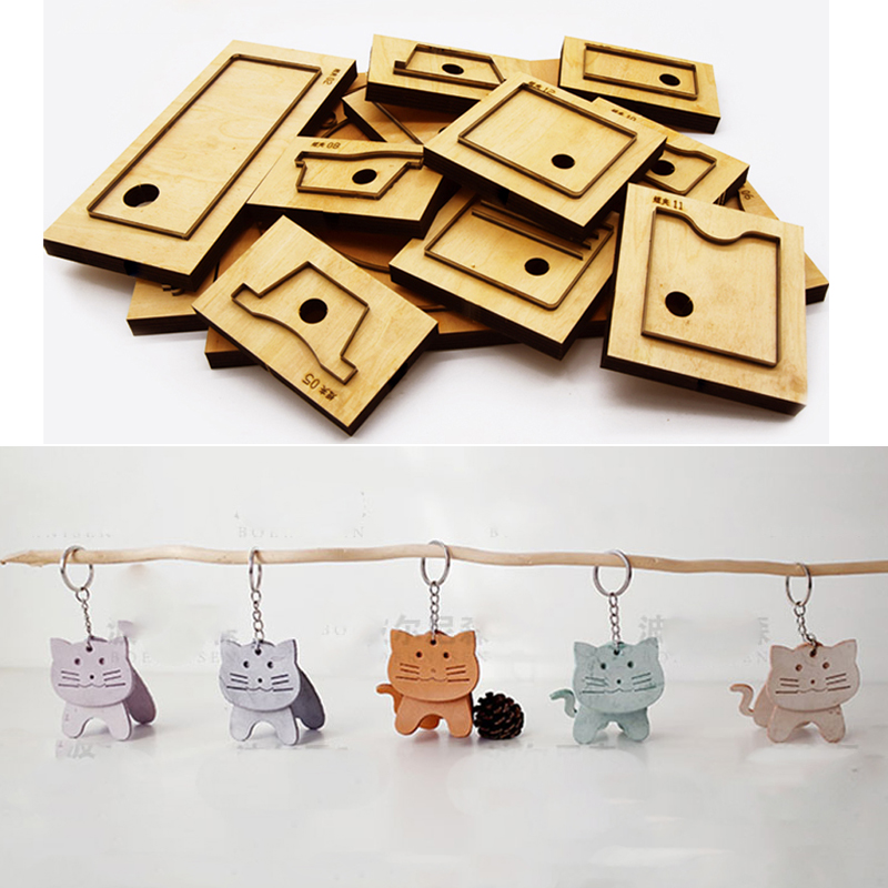 DIY Leather Craft Cute Cat Shape Die Cutting Knife Mould Key Ring Hanging Decoration Hand Punch Tool Template