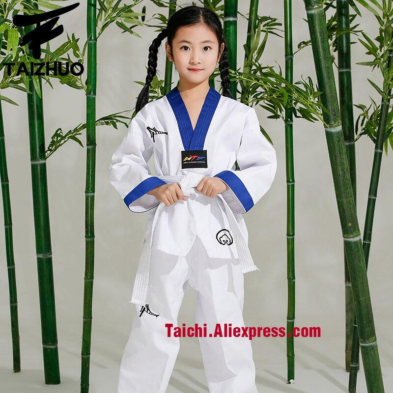 Tae Kwon Do Children Taekwondo Uinform For Poomsae & Training,WTF Uniform,110-155cm White Color With Blue Edge, Back Embroidery