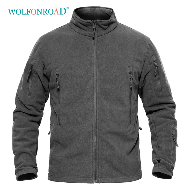 WOLFONROAD Men Winter Fleece Jacket Warm Military Tactical Jacket Hiking Men Thermal Jacket Coat Autumn Army Clothing Plus Size