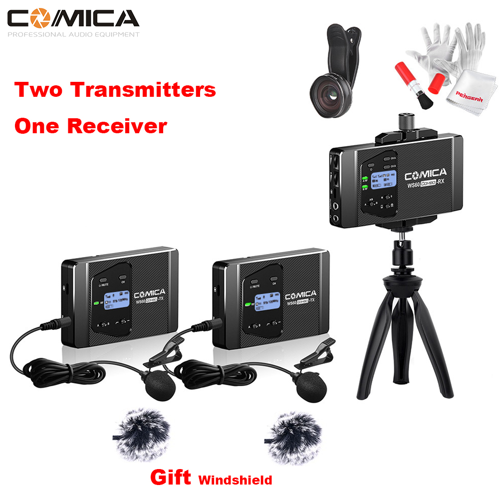 COMICA CVM-WS60 COMBO Trigger Flexible Mini Wireless Microphone System Transmitters Receiver for Smartphone Camera Recording title=