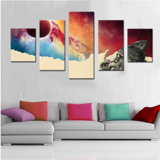 Meditation And Smoking Old Man Canvas Set Wall Modular Pictures For Living Room Decor Painting