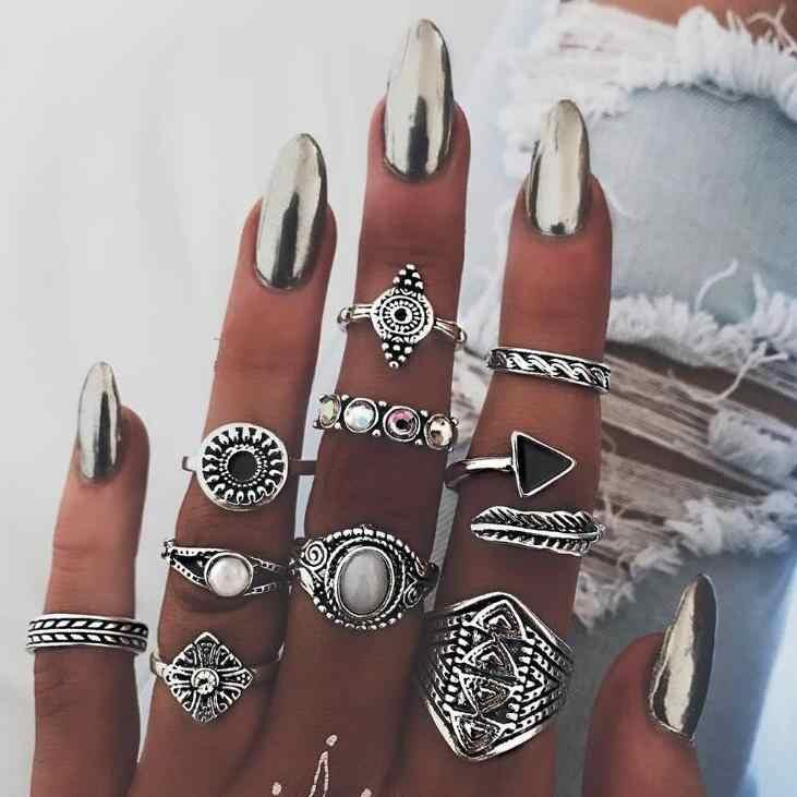 2018 אופנה עלה אבן Midi טבעת סטים חדש בציר גביש אופל Knuckle טבעות לנשים פאנק Anillos Mujer תכשיטי הצהרה