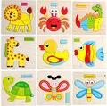 Bonito dos desenhos animados de animais de madeira cérebro teaser de puzzle inteligência crianças educacionais brinquedos do bebê presente crianças formas tangram jigsaw board