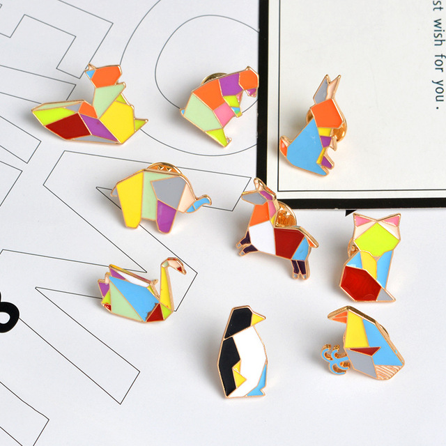 9 Style Geometric Animal Badge Pin Squirrel Elephant Penguin Swan Horse Whale Metal Enamel Brooch Cute