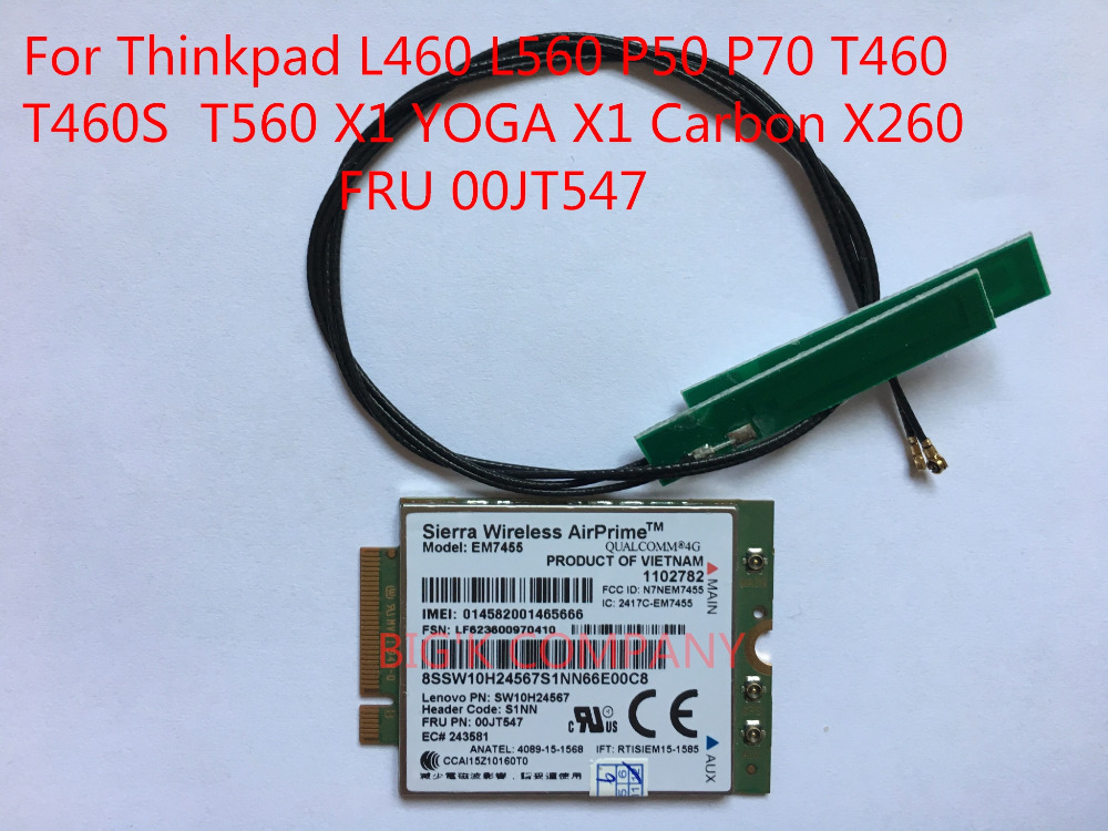 EM7455+2PCS antenna New FRU 00JT547 4G CAT6 for Thinkpad L460 L560 P50 P70 T460 T460S T560 X1 YOGA X1 Carbon X260 X270
