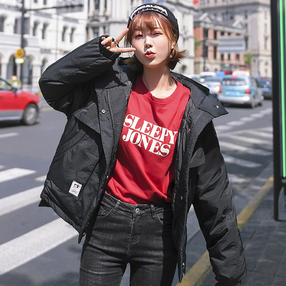 PinkyIsBlack 2019 Causal Ladies Solid Padded Jacket Short Autumn Winter Jacket Women Hooded Coats Female Pockets Wadded Parkas in Parkas from Women 39 s Clothing