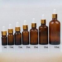 5 ml, 10 ml, 15 ml, 20 ml, 30 ml, 50 ml, 100 ml חום מיני בקבוקי זכוכית עם טפטפת DIY בקבוקון מדגם בקבוק שמן אתרי זהב רים