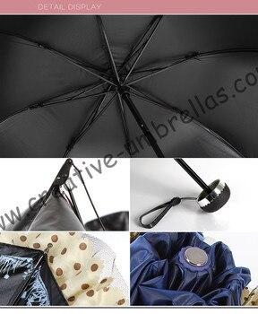 3 Teile/los Farbe Option Damen Summer Falten Taschenschirm 5 Mal Schwarze Beschichtung Anti-uv Frauen Tasche Spitze Weinrot Sonnenschirm