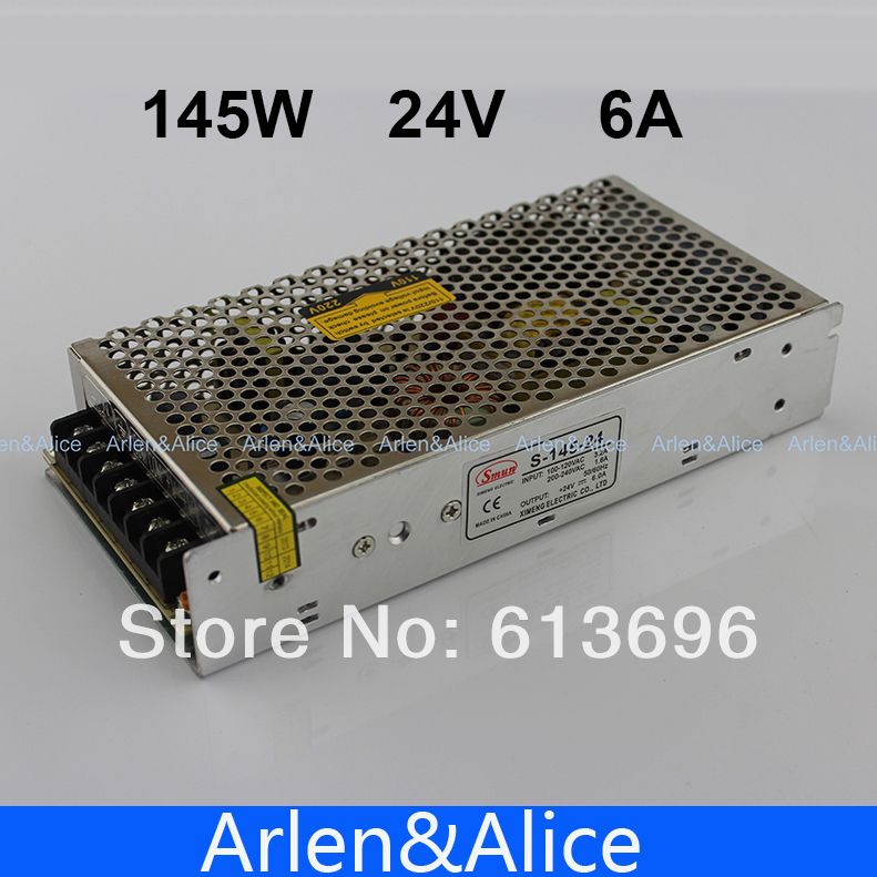 145W 24V 6A Single Output Switching power supply for LED Strip light AC to DC SMPS free shipping 35w 24v 1 5a single output mini size switching power supply for led strip light ms 35 24