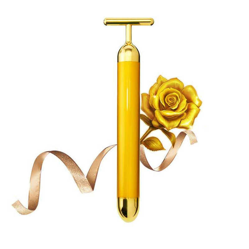 Chasall facial massager gezondheidszorg gezicht afslanken massage tool 24k gold kleur trillingen roller anti rimpel dark circle verwijderen