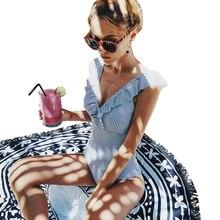 JSY 2019 Sexy Female Retro V Neck Blue Striped Swimsuit One Piece Ruffled Push Up Padded High Waist Swimwear Women Monokini A39 stylish striped spaghetti strap ruffled one piece swimsuit for women