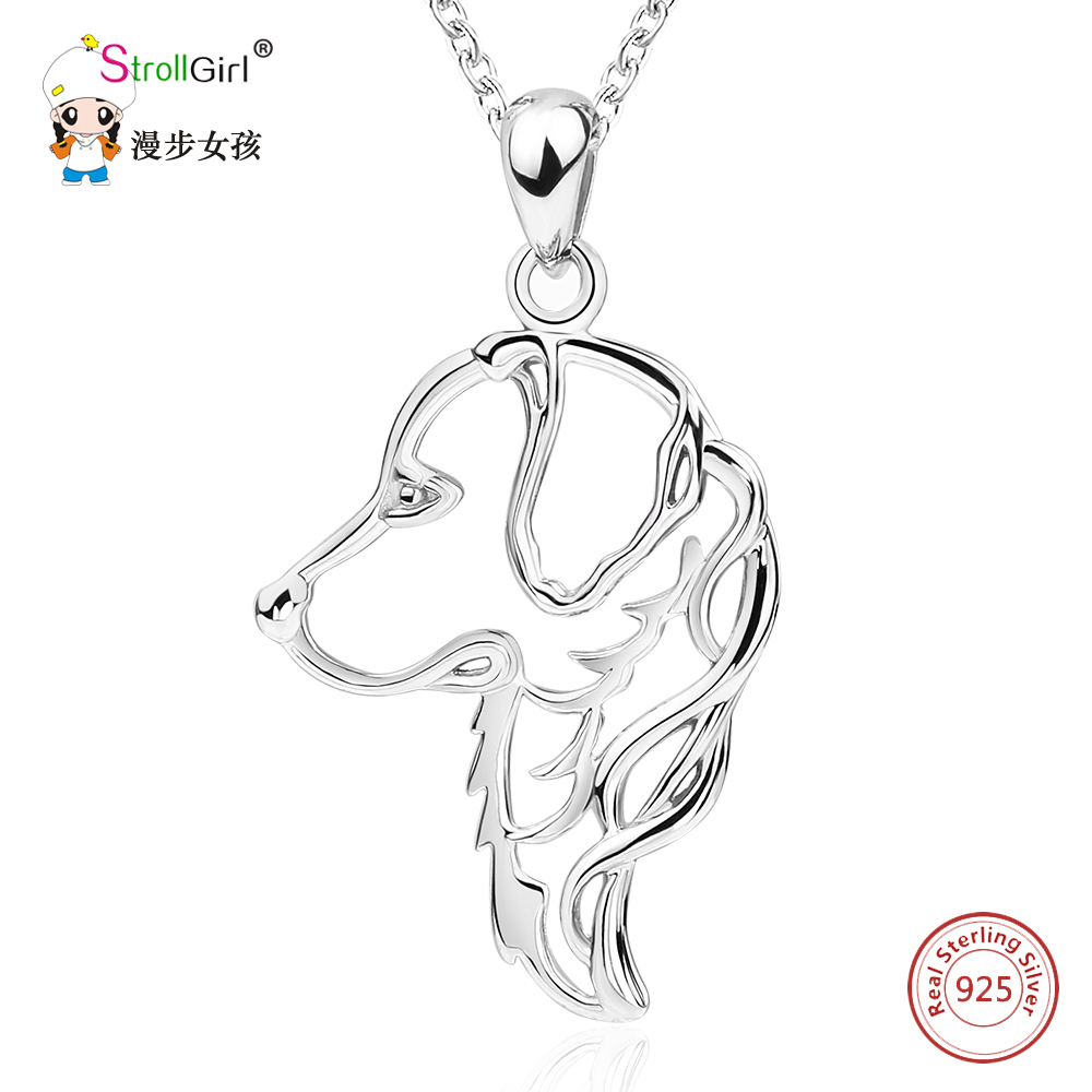 925 Sterling Silver Chain cute Dog Golden Retriever Pendants & Necklaces For Women Labrador Pets dropshipping Jewelry Collier