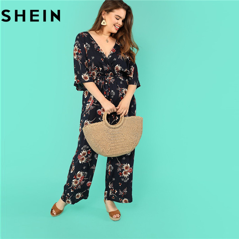 SHEIN Bohemian Navy Floral Print Belted Plus Size V Neck Long Women Jumpsuits 2018 Autumn New Vacation Casual Surplice Jumpsuit