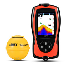 Russian menu!LUCKY FF1108-1CWLA Wireless Fish Finder 45M Water Depth Detection Remote Sonar Sensor with Lamp Color fishfinder