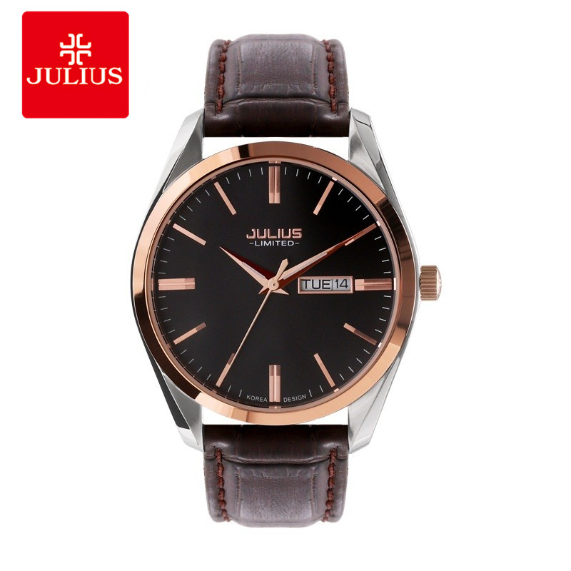 JULIUS Brand Logo Classic Unisex Steel Leather Strap Auto Date Day Business Watch Men Silver Rose Gold Waterproof Whatch JAL-033 стеллар погремушка дудочка стеллар