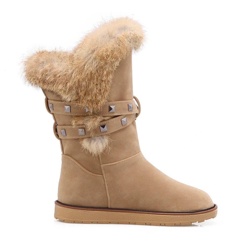 Caliente Negro 10 Peludo Más Grande Botas Zapatos 43 Tacones Tamaño Marca Remaches Nuevo Señora Mujeres Invierno Bajos gray yellow Black Amarillo Nieve Grueso Cómodo En81 XRETUzwq