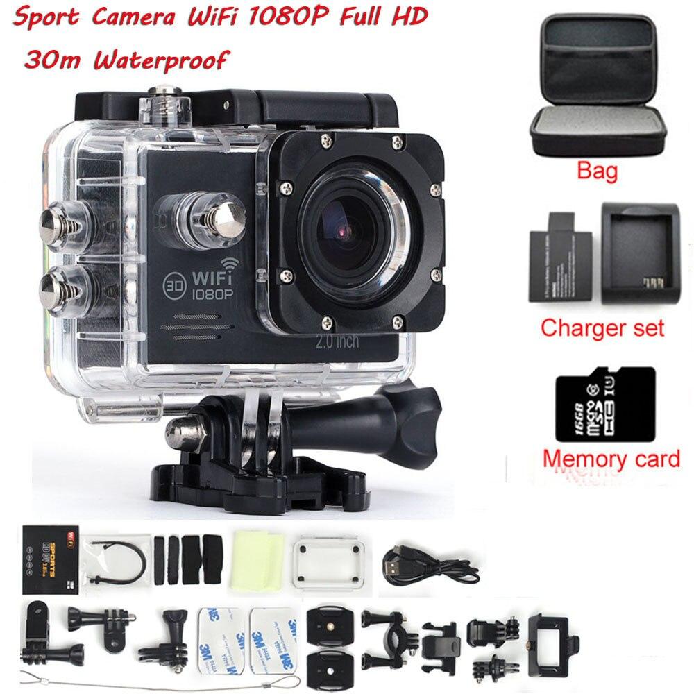 ФОТО  Action Video Camera 2.0 inch Full HD  Wifi 1080P 30fps sport DV Underwater 30M 170 Degree Lens Waterproof mini camera
