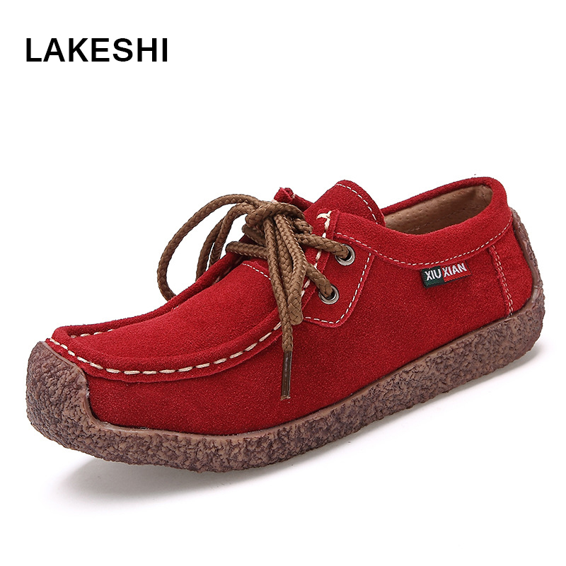 Women Loafers Fashion Flat Moccasins Shoes Ladies   Suede     Leather   Hollow Flats Women Casual Shoes