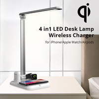 4 in1 LED Desk Lamp Wireless Charger for iPhone Xs/Apple Watch/Airpods/Xr/8plus Touch On/off Switch Three Light Modes Table Lamp
