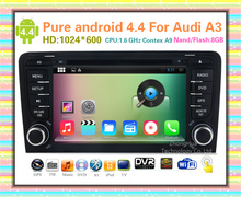 "HD 1024*600 Capacitive screen 7"" Android 4.4 Car DVD GPS Navigation for Audi A3 S3 2003-2011 with WIFI 3G Bluetooth car stereo"