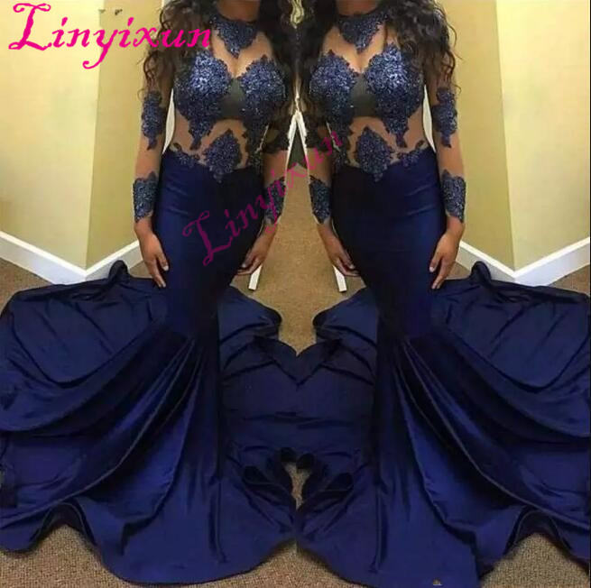 Latest Sexy Mermaid Prom Dresses Beaded Long Sleeve Lace With Applique Sequins Special Occasion Dresses Luxurious Evening Dress