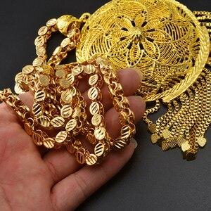 Image 3 - Anniyo kalın zincir ve büyük kolye kadın erkek etiyopya afrika altın renk takı nijerya hediyeler #064506
