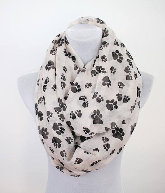 dog paw infinity scarf loop scarf winter scarf christmas gift