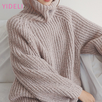 Simplee LOOSE Turtleneck Knitted Pullover Sweater Women Cotton Soft Jumper Pull Femme Autumn Winter Thick Warm
