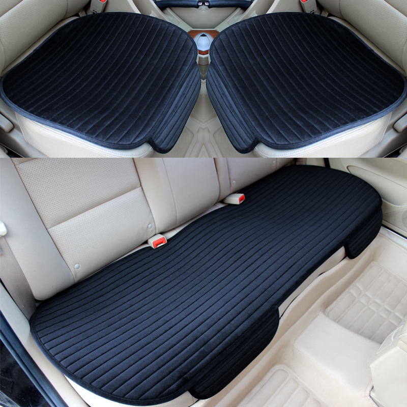 3PCS/SET Universal Front Back Winter Car Seat Cover Velvet Breathable Keep Warm Car Seat Cushion Anti-Skid Pad Protector Mat pillowcase classic style wave pattern car comfy back cushion cover