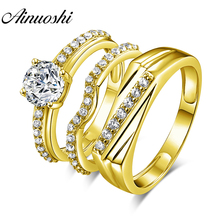 AINUOSHI 14K Yellow Gold TRIO Couple Rings Set Unique Top-Flat Male Band 1.25 ct Round CZ Wedding Engagement Bridal Ring Jewelry ainuoshi 10k solid yellow gold women engagement ring sona diamond jewelry top quality butterfly shape joyeria fina femme rings