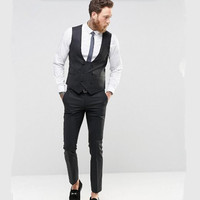 new Suit Black double breasted men waistcoat Fashion groom tuxedos vest high quality wedding best man dress Waistcoat