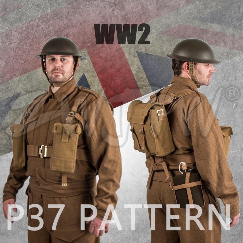 WWII WW2 UK British Army P37 SUITS & EQUIPMENT Winter uniform Woolen soldiers Coat & Pants & EQUIPMENT&HELMET suck uk