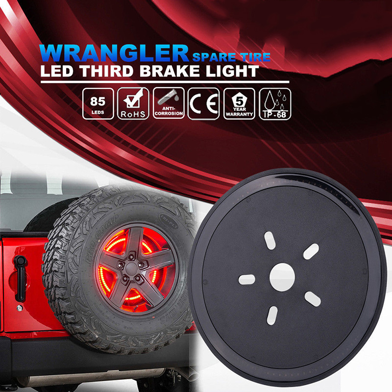 Car Styling Spare Wheel Tire LED 3rd Third High Brake Light Lamp Ring For Jeep Wrangler JK 2007-2017 Auto Light Accessories spare tire cover red wheel third light spare tire led third brake light for 2007 2017 jeep wrangler jk jku unlimited rubicon