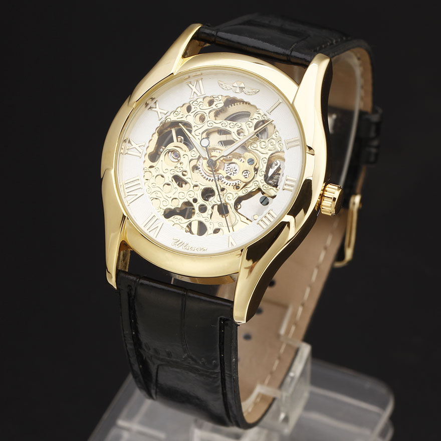 2016 Luxury Brand WINNER Men Black Leather Strap Watches Golden Case Carving Skeleton Dial Hand Wind Mechanical Wristwatches
