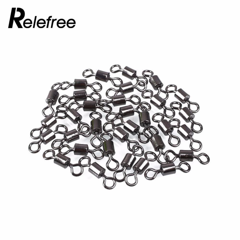 100pcs Fishing Barrel Bearing Rolling Swivel Solid Rings Lures Connector New