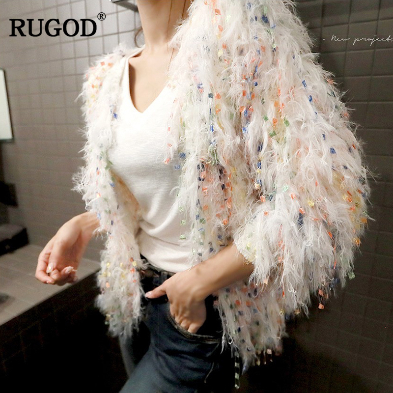 RUGOD Fashionable Tassel Cardigan Long Sleeve Loose Knitted Sweater For Women 2018 Stylish Winter Warm Cardigan Women Jacket