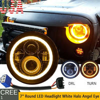 1PC 7'' Osram 40W Round LED Headlight Hi Lo Beam Bulb For Jeep Wrangler JK TJ Black