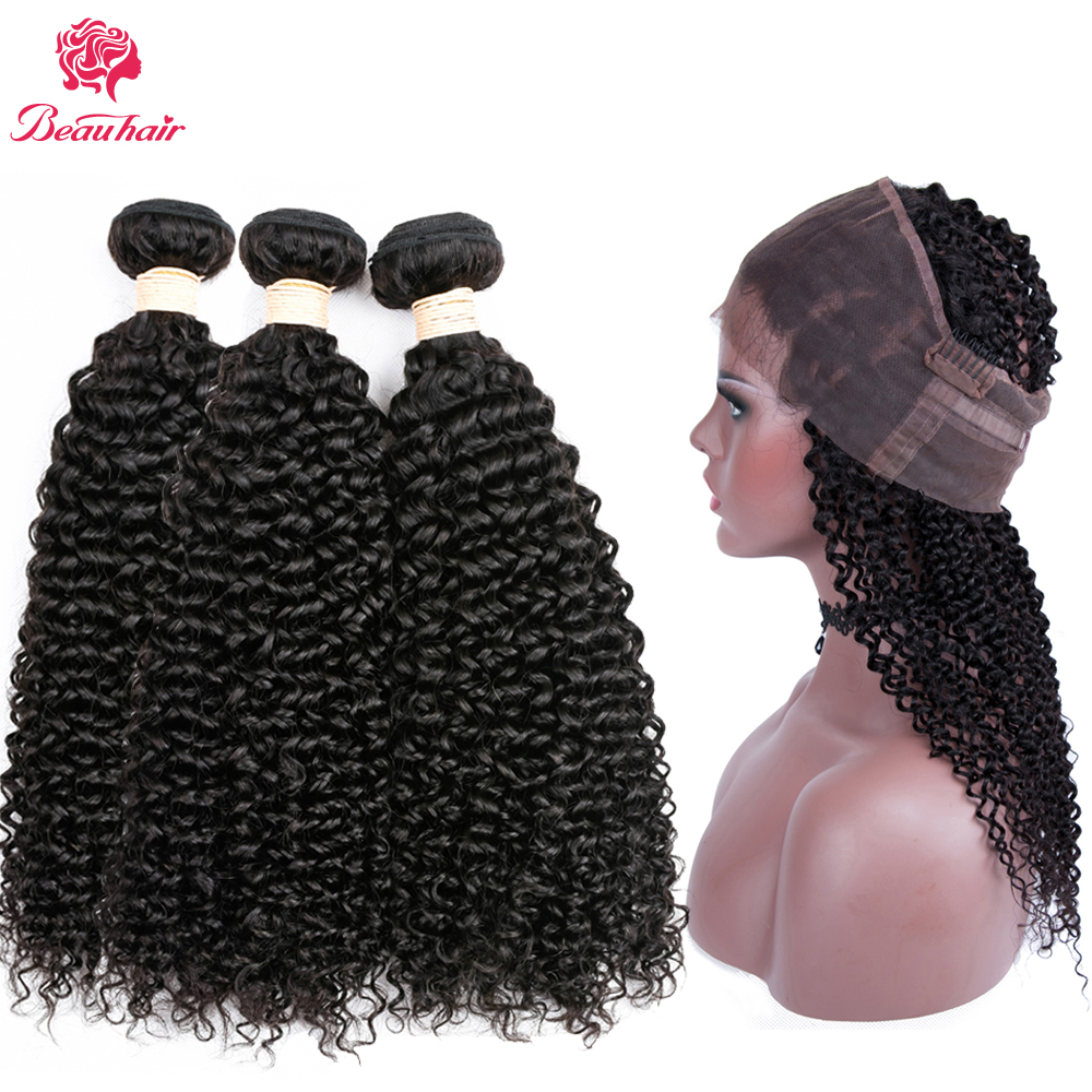 Beau Hair Pre-Color Brazilian kinky Curly Hair Weave 3 Bundles With 360 Lace Frontal Natural Color human hair extensions
